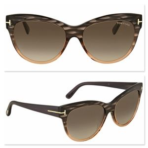 New TOM FORD Lily Brown Grey Sunglasses